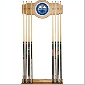 Trademark NHL Edmonton Oilers 2 piece Wood and Mirror Wall Cue Rack