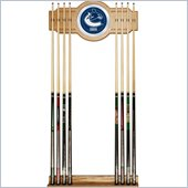 Trademark NHL Vancouver Canucks 2 piece Wood and Mirror Wall Cue Rack