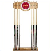 Trademark Iowa State University Wood and Mirror Wall Cue Rack