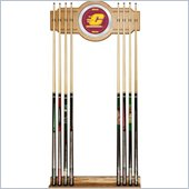 Trademark Central Michigan University Wood and Mirror Wall Cue Rack