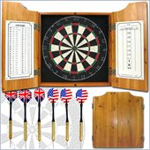 Trademark Solid Wood Dart Cabinet with Dartboard and Darts