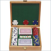 Trademark 100 13 gm Pro Clay Casino Chips w/Beautiful Solid Oak Case