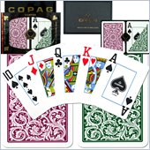 Trademark CopagT Poker Size Jumbo Index - Green Burgundy Setup
