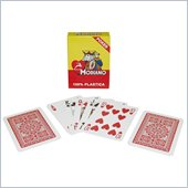 Trademark Modiano 100% Plastic Poker Size Reg Index Red Single Deck
