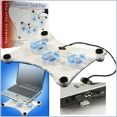 Trademark Global Laptop Buddy Notebook USB Cooling Pad with 3 Fans and 6 LED Lights