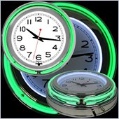 Trademark Global 14 Inch Double Ring Neon Clock in Green