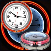 Trademark Global 14 Inch Double Ring Neon Clock in Red