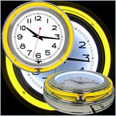 Trademark Global 14 Inch Double Ring Neon Clock in Yellow