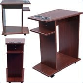 Trademark Global Drink and Food Cart with Cup Holders on Wheels in Mahogany