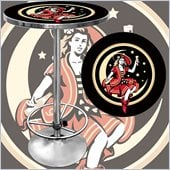 Trademark Global Miller High Life Girl in the Moon Vintage Pub Table