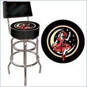 Trademark Global Miller High Life Girl in the Moon Padded Bar Stool with Backrest
