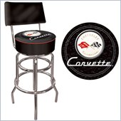 Trademark Global Corvette C1 Padded Bar Stool with Backrest in Black