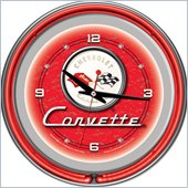 Trademark Global 14 inch Corvette C1 Neon Clock in Red