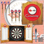 Trademark Global Corvette C1 Dart Cabinet Includes Darts and Board in Red