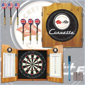 Trademark Global Corvette C1 Dart Cabinet Includes Darts and Board in Black