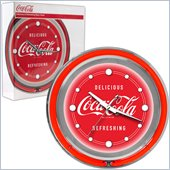 Trademark Global Coca Cola Neon Clock - Delicious Refreshing - 2 Rings