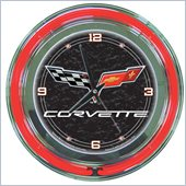 Trademark Global Corvette C6 Neon Clock 14 inch Diameter in Black