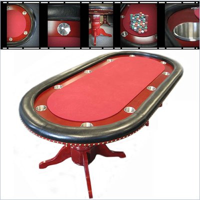 "Trademark 90"" Texas Holdem Poker table with Racetrack in Red"
