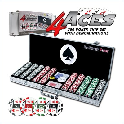 Trademark Global 4 Aces 500 11.5g Poker Chip Set with Aluminum Case