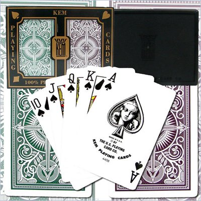 Trademark Kem 100% Plastic Playing Cards - Brown &amp; Green Narrow
