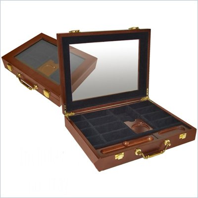 Trademark Premium Wood Poker Chip Case With Cigar Tray 240 Capacity