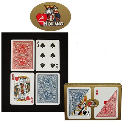 Trademark Modiano 100% Plastic Poker Size Reg Indx Golden Trophy Setup