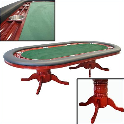 "Trademark Texas Holdem 96"" Table Mahogany Deluxe in Green"