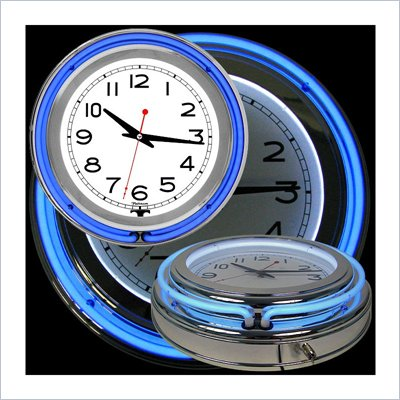 Trademark Global 14 Inch Double Ring Neon Clock in Blue Outer and White Inner