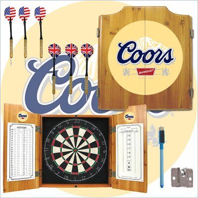 Trademark Coors Dart Cabinet includes Darts and Board