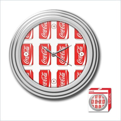 Trademark Global Coca-Cola Clock w/ Chrome Finish - Cans Style