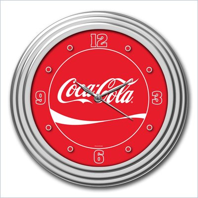 Trademark Global 12 Inch Coca-Cola Coke Clock with Chrome Finish