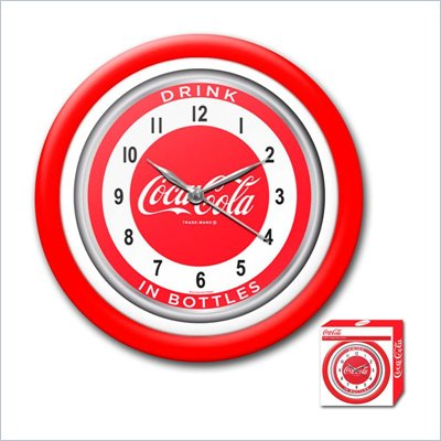 Trademark Global Coca-Cola Clock w/ White Neon - 1950s Style - 12""