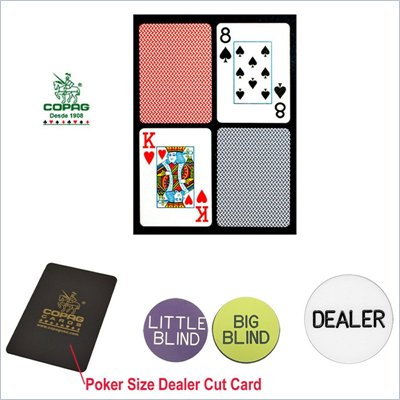 Trademark CopagT Poker Size Plastic Playing Cards &amp; Dealer Kit