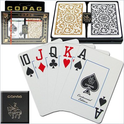 Trademark CopagT Poker Size Jumbo Index - 1546 Black 'Gold Setup