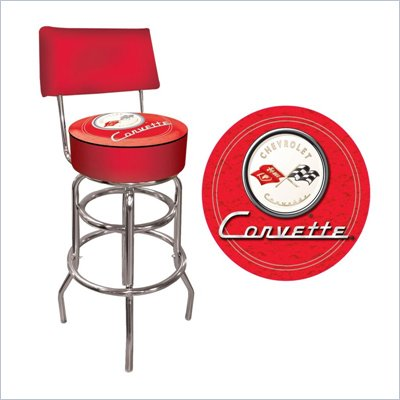 Trademark Global Corvette C1 Padded Bar Stool with Back in Red 