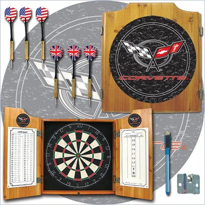 Trademark Corvette C5 Dart Cabinet Includes Darts and Board