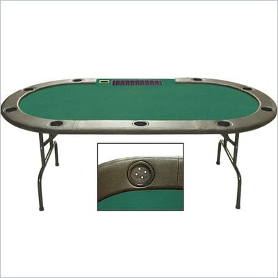 Trademark 96&quot; Holdem Folding Poker Table with Dealer Position in Green