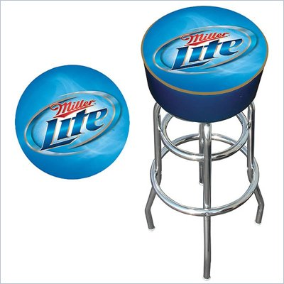 Trademark Retro Miller Lite Logo Padded Bar Stool