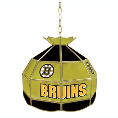 Trademark NHL Boston Bruins Stained Glass Tiffany Lamp - 16 inch diameter