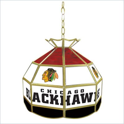 Trademark NHL Chicago Blackhawks Stained Glass Tiffany Lamp - 16 inch diameter