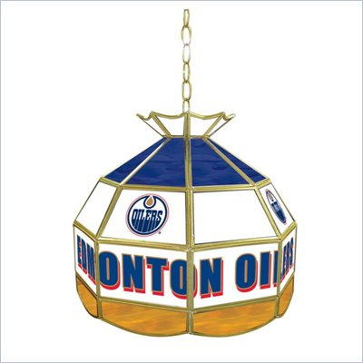 Trademark NHL Edmonton Oilers Stained Glass Tiffany Lamp - 16 inch diameter