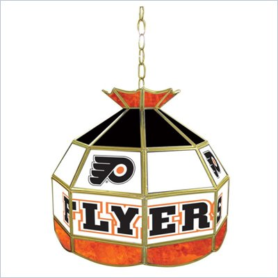 Trademark NHL Philadelphia Flyers Stained Glass Tiffany Lamp - 16 inch diameter