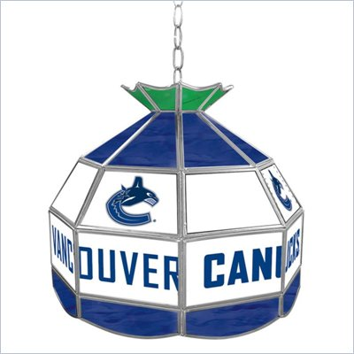 Trademark NHL Vancouver Canucks Stained Glass Tiffany Lamp - 16 inch diameter