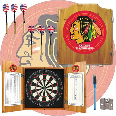 Trademark NHL Chicago Blackhawks Dart Cabinet includes Darts and Board