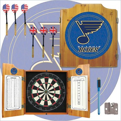 Trademark NHL St. Louis Blues Dart Cabinet includes Darts and Board