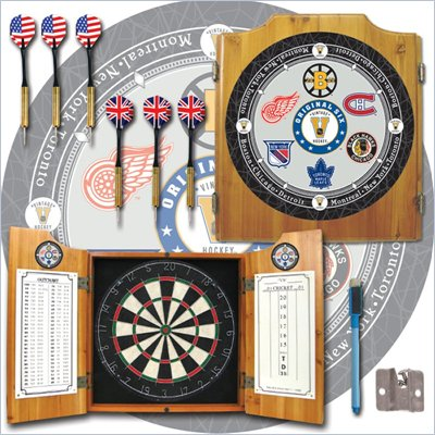 Trademark NHL Vintage Original Six Teams Dart Cabinet with Accessories