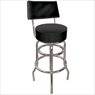 Tradeark Retro High Grade Black Padded Bar Stool with Back