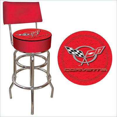 Trademark Retro Corvette C5 Padded Bar Stool with Back - Red