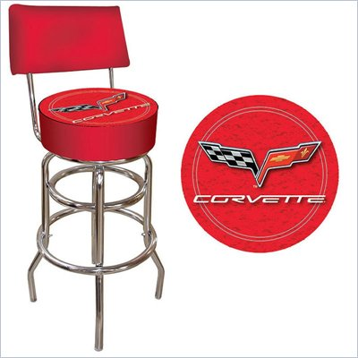 Trademark Retro Corvette C6 Padded Bar Stool with Back - Red
