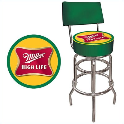 Trademark Retro Miller High Life Padded Bar Stool with Back